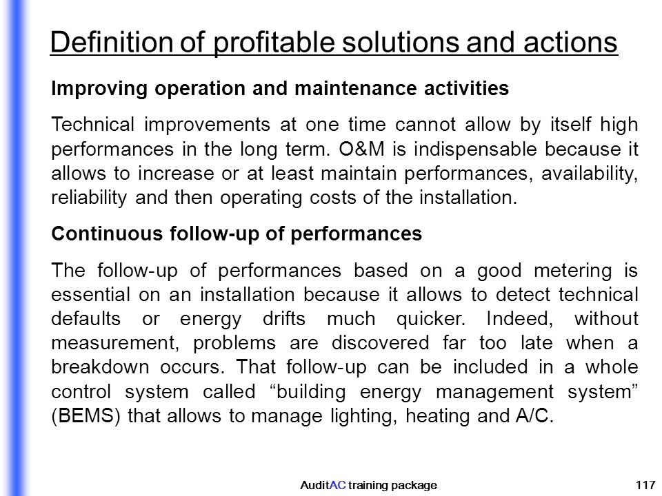Definition of profitable solutions and actions