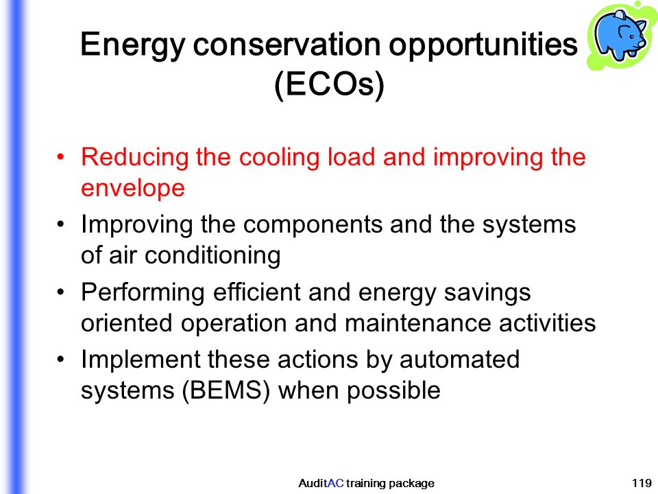 Energy conservation opportunities (ECOs)