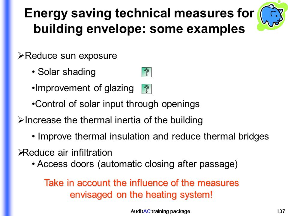 Energy saving technical measures for building envelope: some examples
