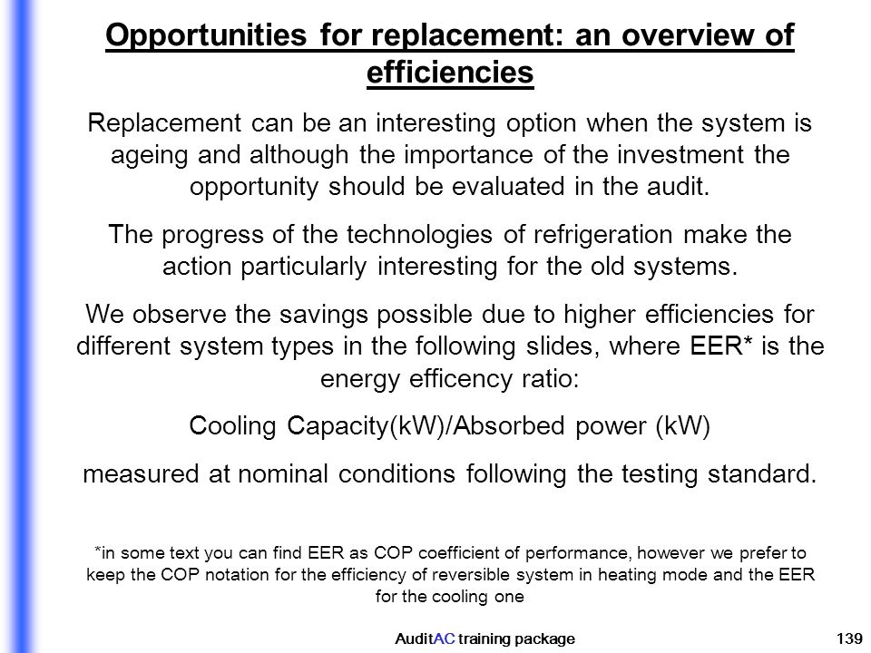 Opportunities for replacement: an overview of efficiencies