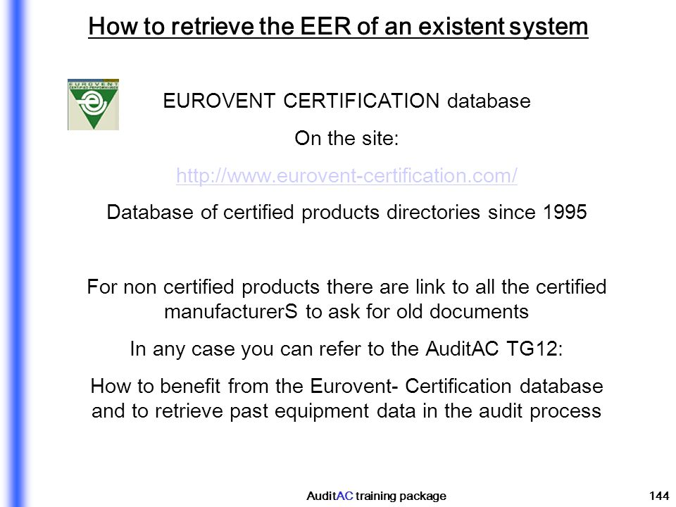 How to retrieve the EER of an existent system