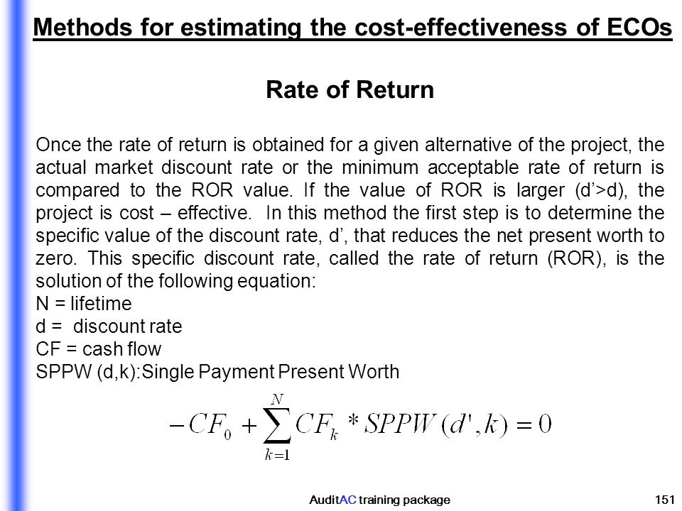 Methods for estimating the cost-effectiveness of ECOs Rate of Return