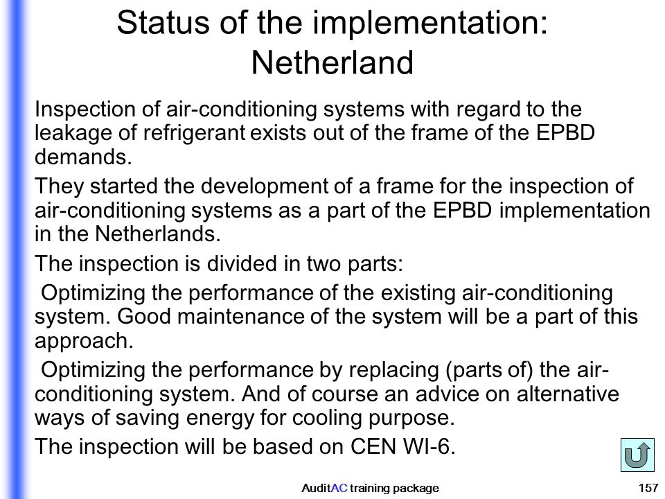 Status of the implementation: Netherland