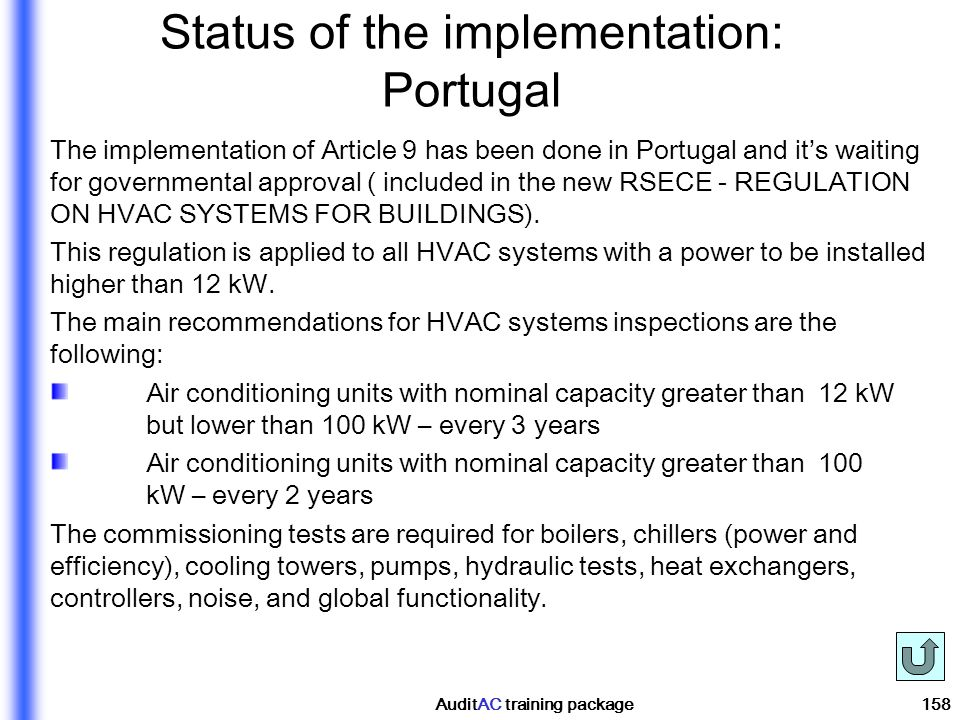 Status of the implementation: Portugal