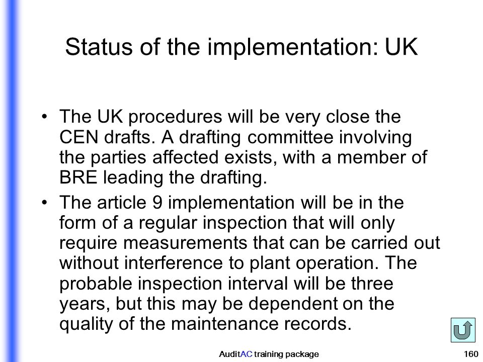 Status of the implementation: UK