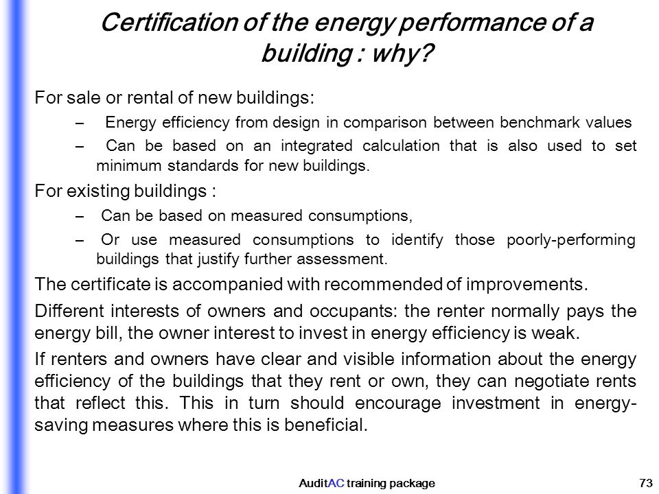 Certification of the energy performance of a building : why