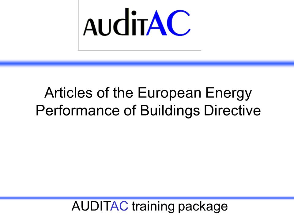 Articles of the European Energy Performance of Buildings Directive