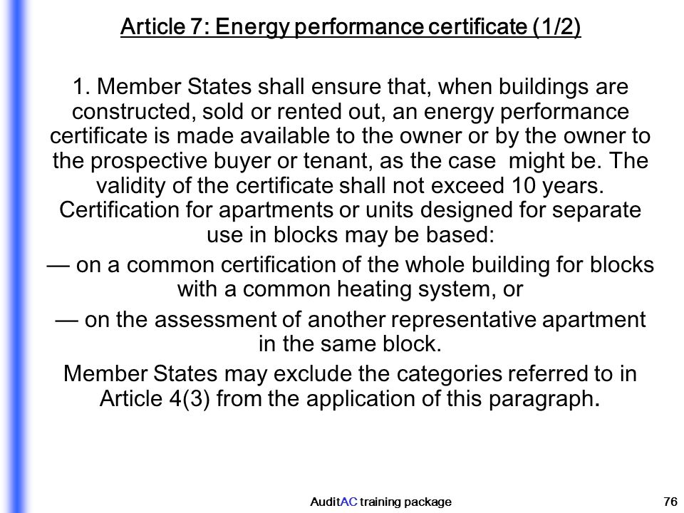 Article 7: Energy performance certificate (1/2)