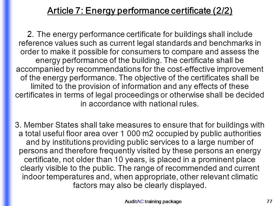 Article 7: Energy performance certificate (2/2)