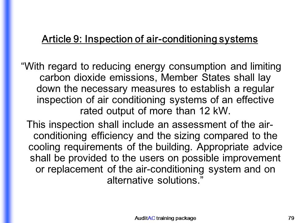 Article 9: Inspection of air-conditioning systems