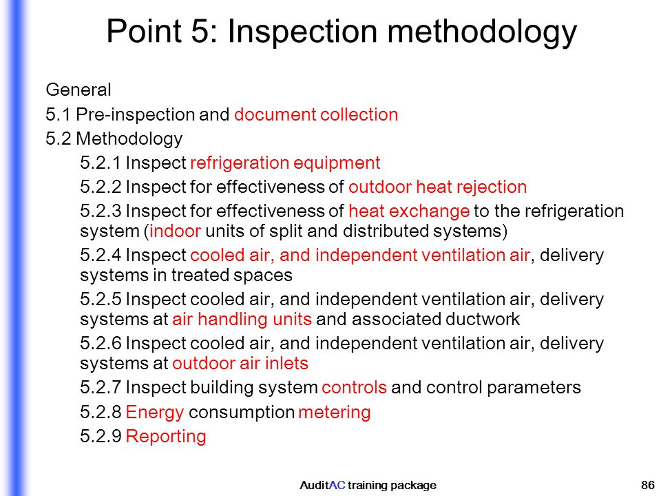 Point 5: Inspection methodology