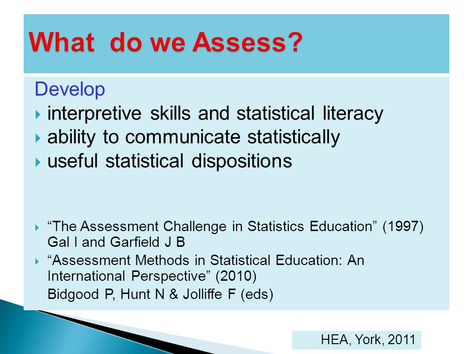 What do we Assess Develop