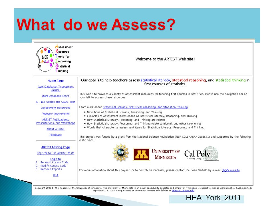 What do we Assess HEA, York, 2011