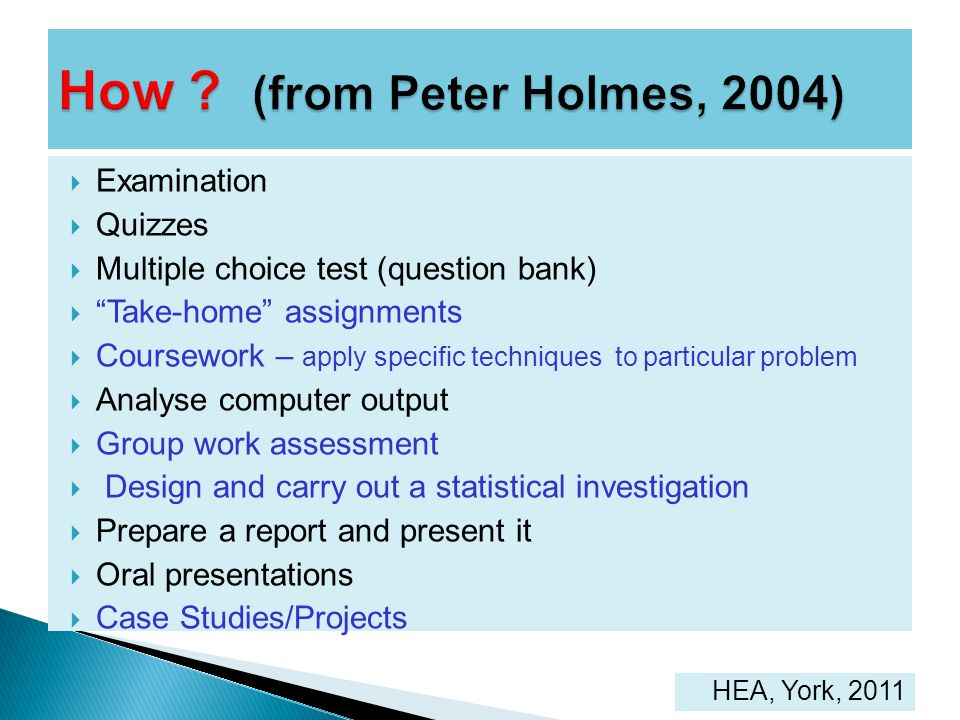 How (from Peter Holmes, 2004)