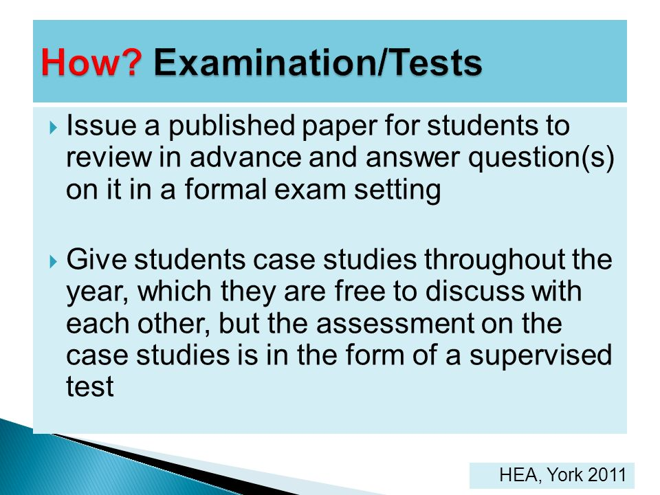 How Examination/Tests