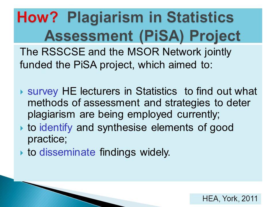 How Plagiarism in Statistics Assessment (PiSA) Project