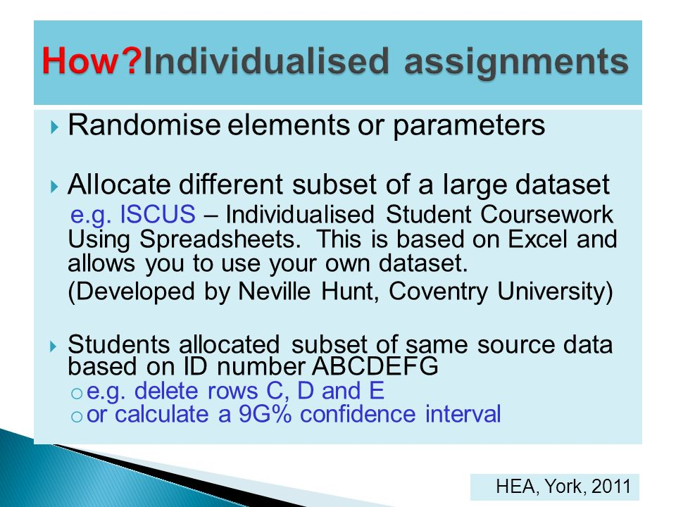 How Individualised assignments