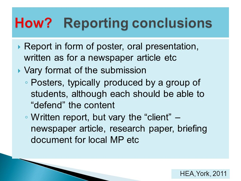 How Reporting conclusions