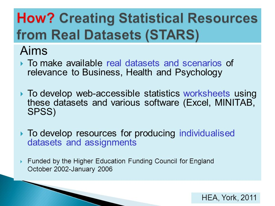 How Creating Statistical Resources from Real Datasets (STARS)