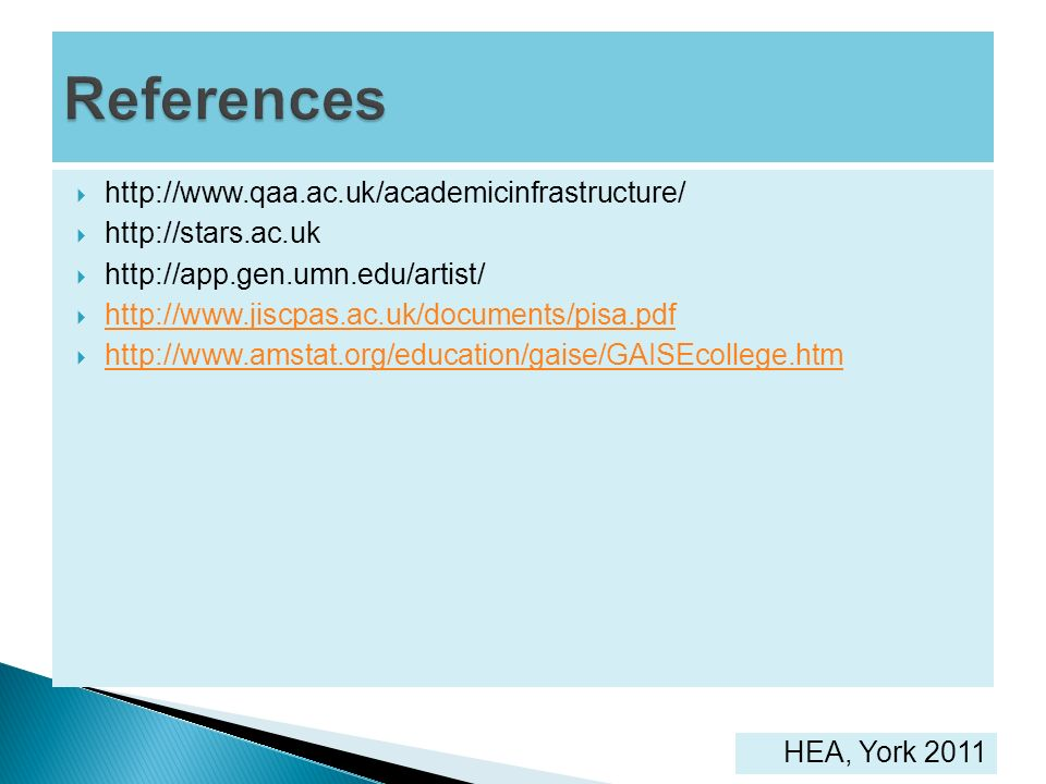 References http://www.qaa.ac.uk/academicinfrastructure/