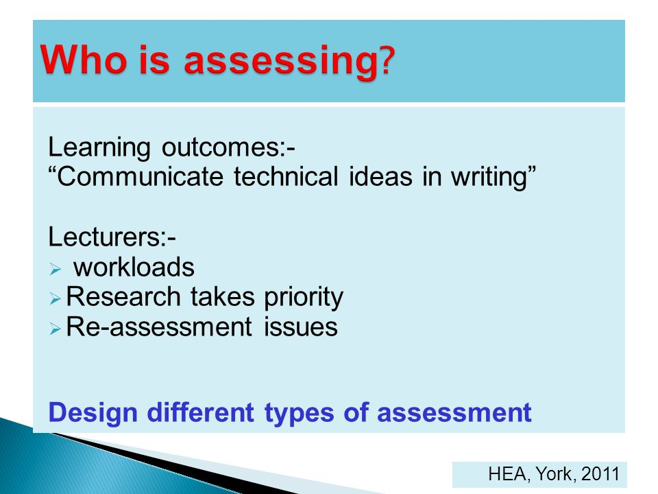 Who is assessing Learning outcomes:-