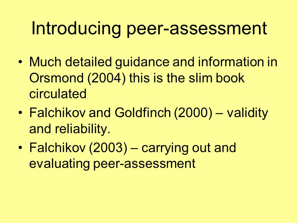 Introducing peer-assessment