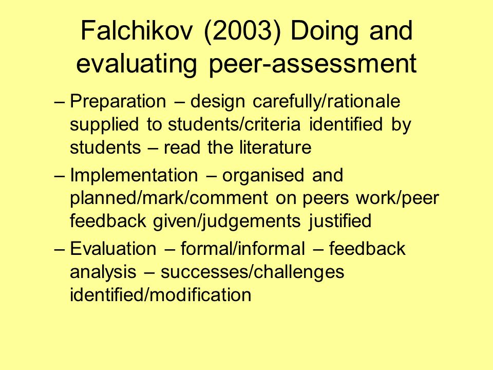 Falchikov (2003) Doing and evaluating peer-assessment