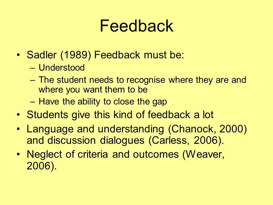 Feedback Sadler (1989) Feedback must be: