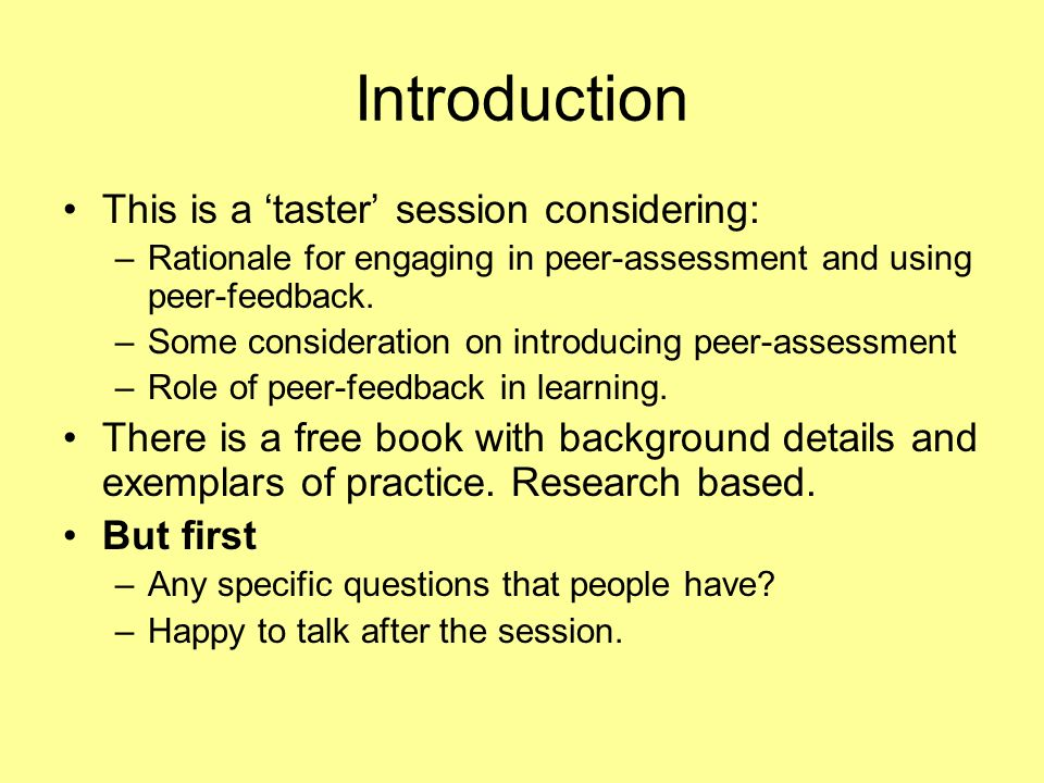 Introduction This is a 'taster' session considering: