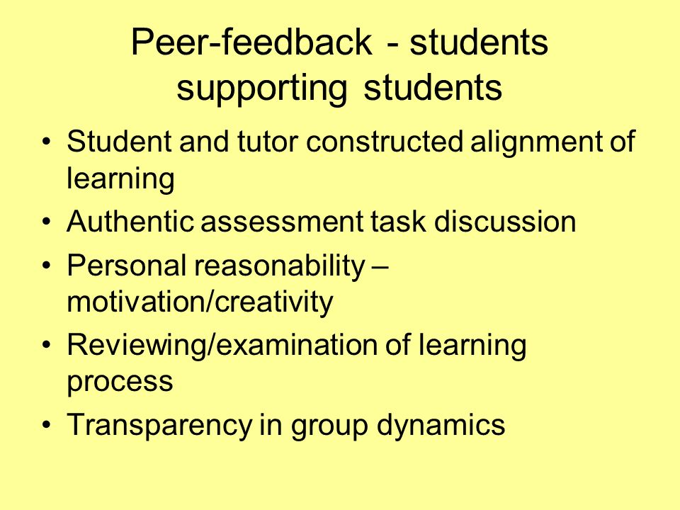 Peer-feedback - students supporting students