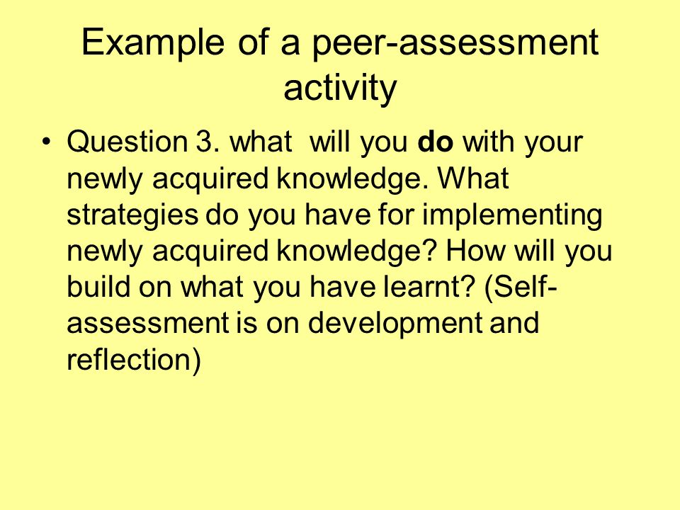 Example of a peer-assessment activity