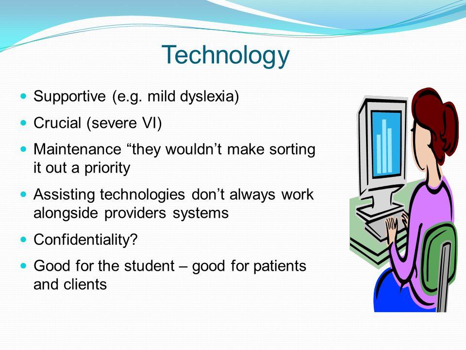 Technology Supportive (e.g. mild dyslexia) Crucial (severe VI)
