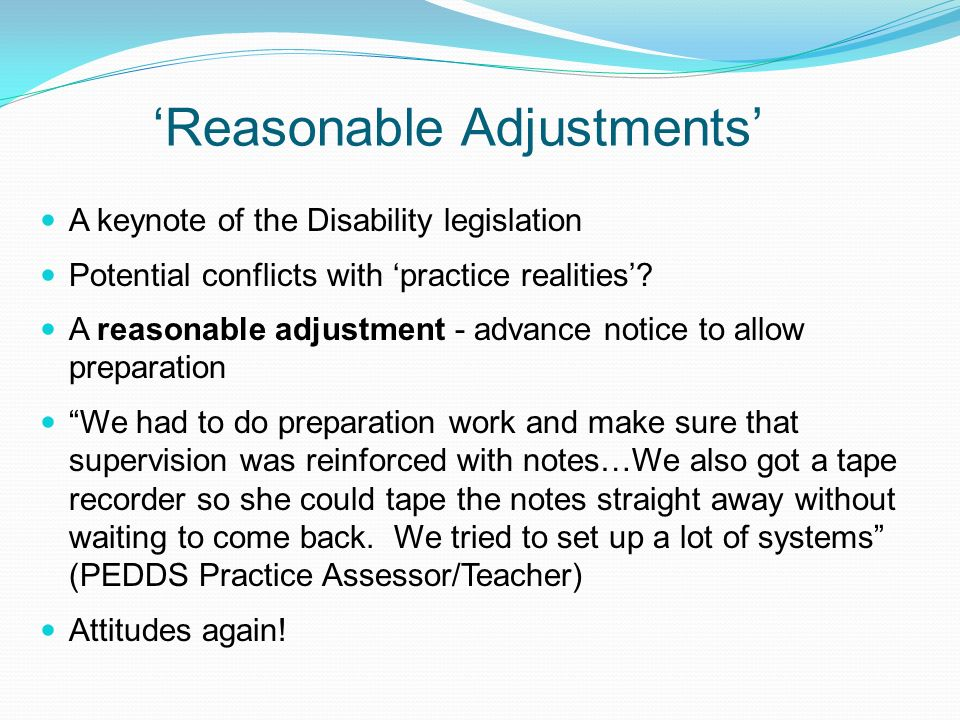 'Reasonable Adjustments'