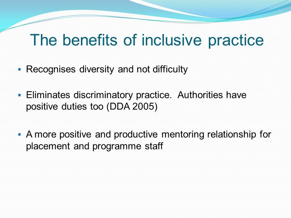 The benefits of inclusive practice