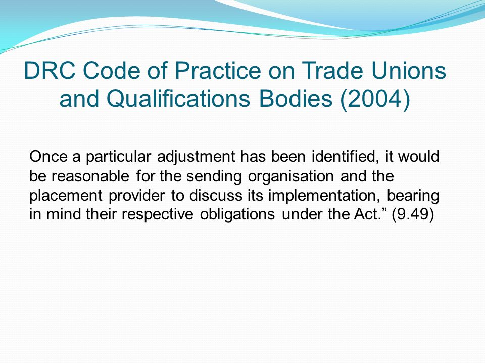 DRC Code of Practice on Trade Unions and Qualifications Bodies (2004)