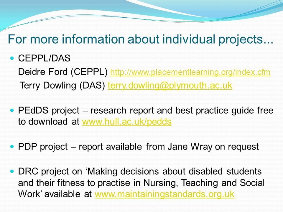 For more information about individual projects...