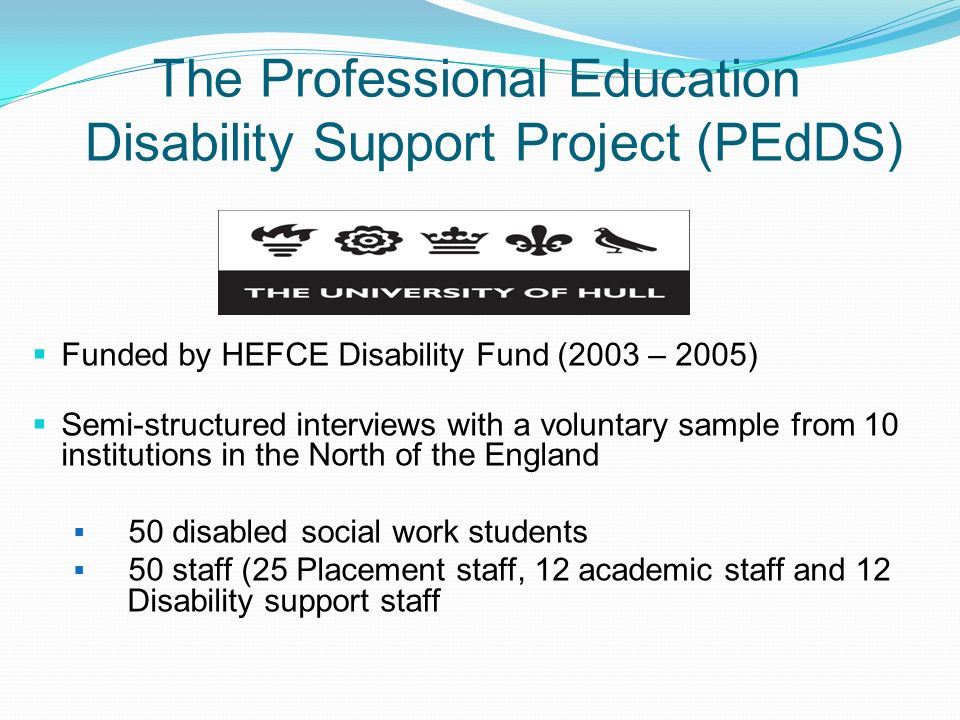 The Professional Education Disability Support Project (PEdDS)