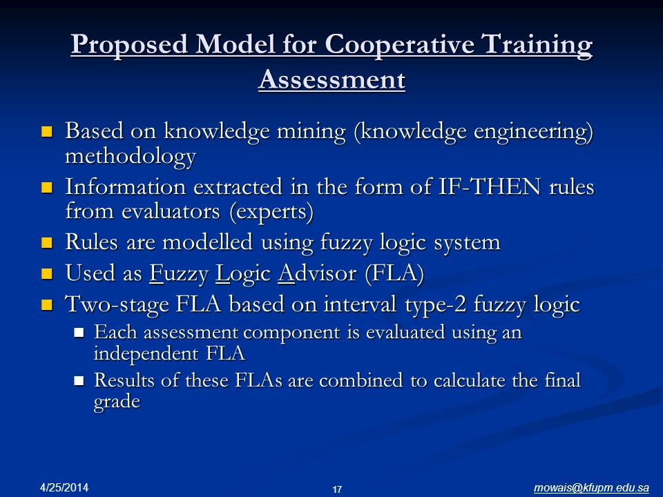 Proposed Model for Cooperative Training Assessment