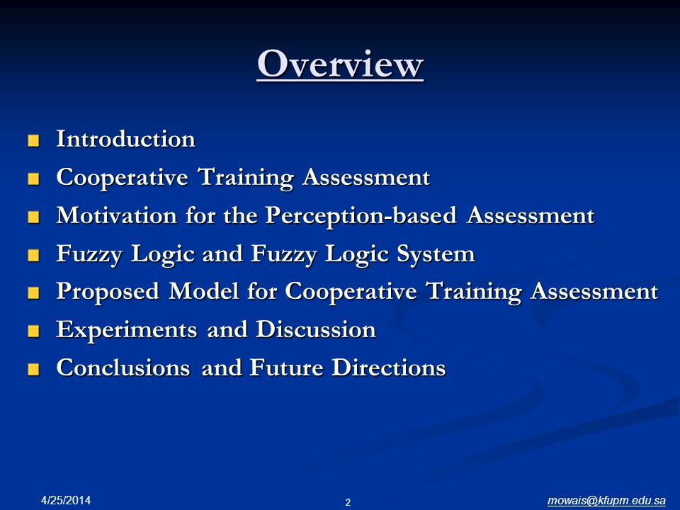 Overview Introduction Cooperative Training Assessment