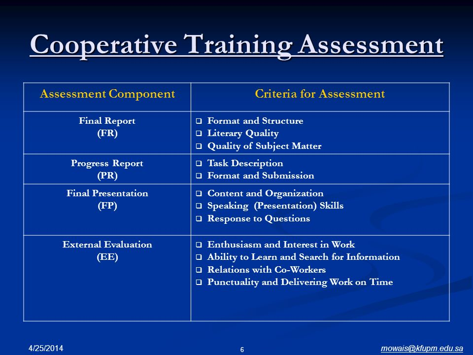 Cooperative Training Assessment