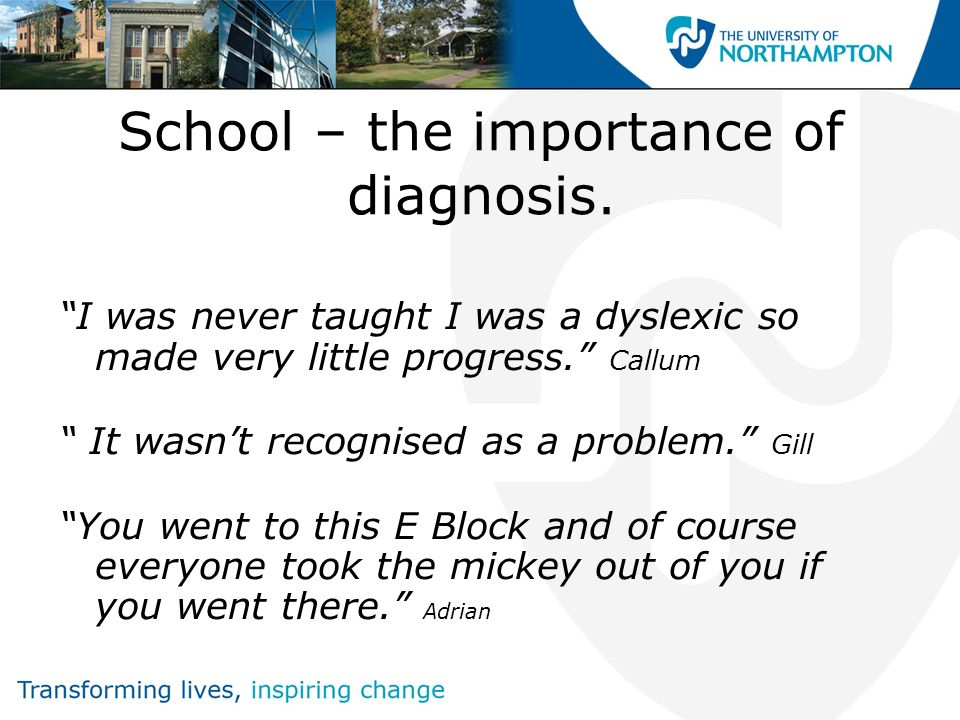 School – the importance of diagnosis.