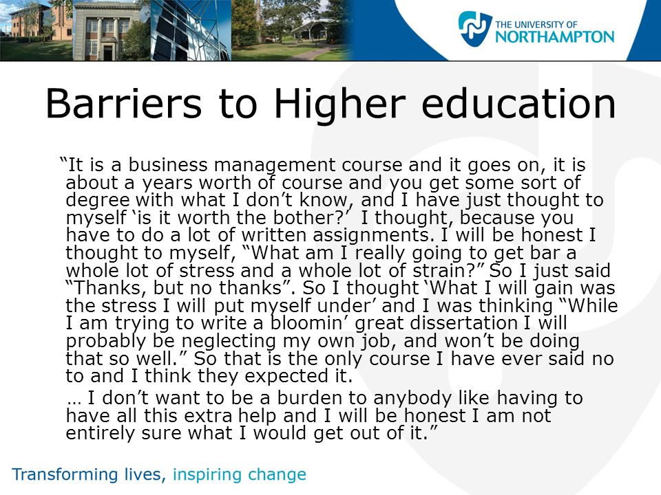 Barriers to Higher education