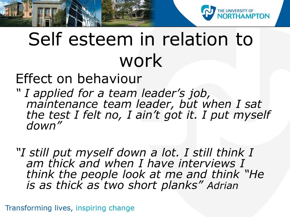 Self esteem in relation to work