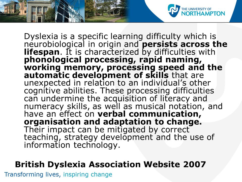 British Dyslexia Association Website 2007