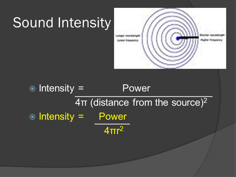 Sound Intensity Intensity = Power 4π (distance from the source)2