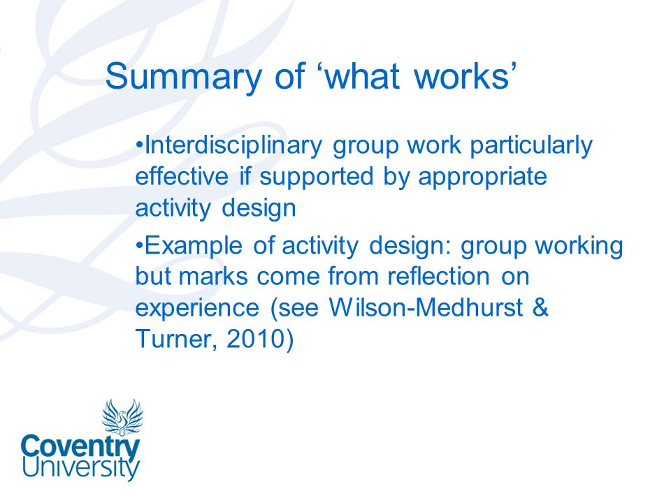 Summary of 'what works'