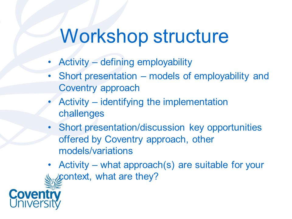 Workshop structure Activity – defining employability