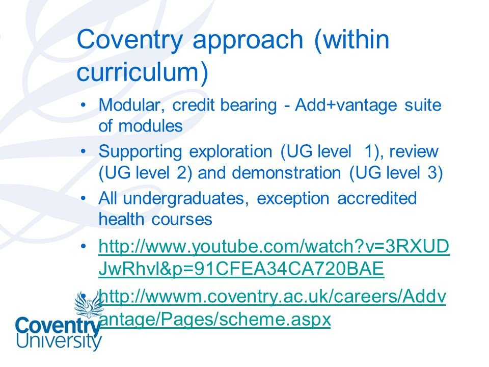 Coventry approach (within curriculum)