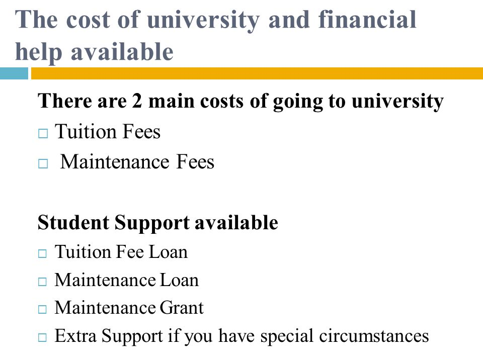 The cost of university and financial help available