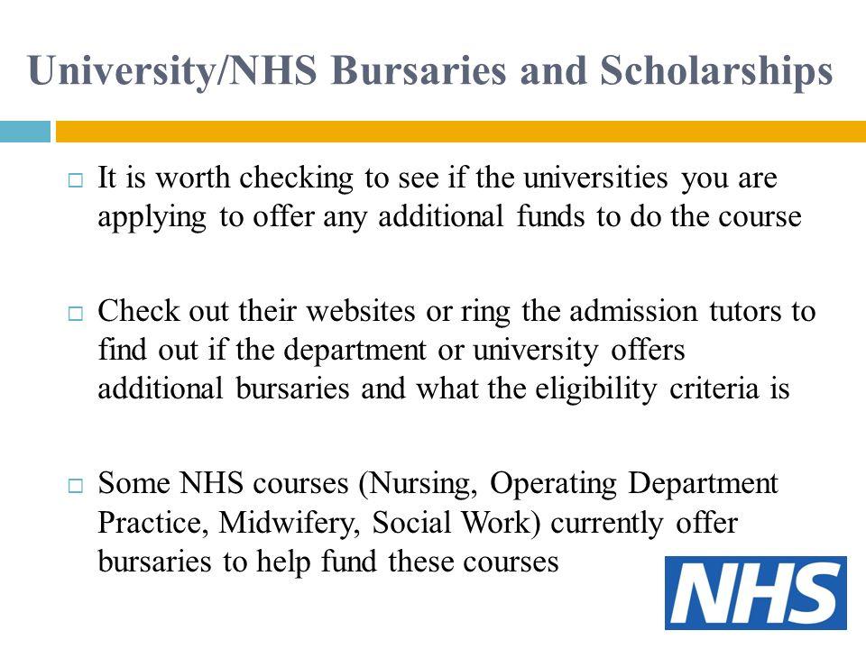 University/NHS Bursaries and Scholarships